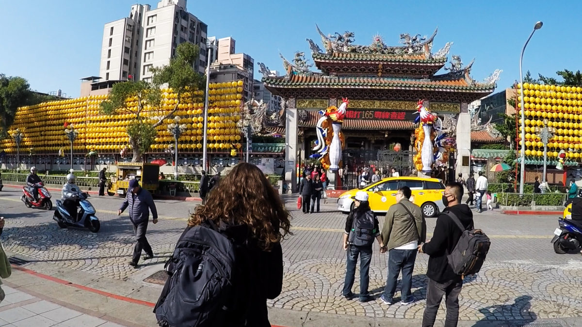 Longshan Temple entrance with Natalie